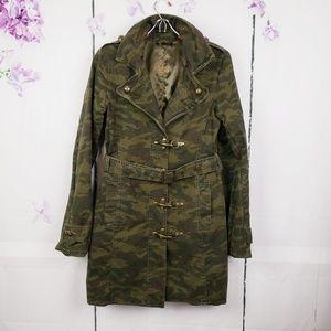 BB Dakota Military Green Camo Trench Jacket M